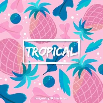 Fundo tropical colorido com abacaxis e folhas