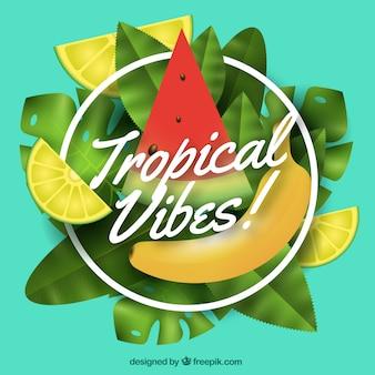 Fundo tropical colorido com design realista