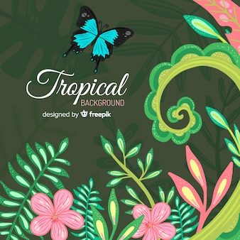 Fundo tropical colorido com folhas e flores