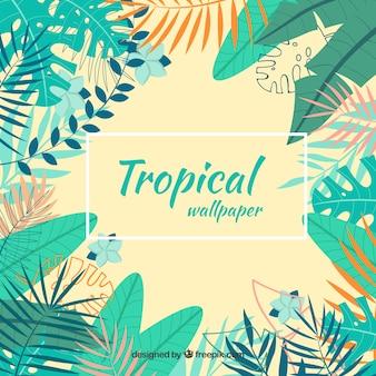 Fundo tropical colorido com folhas