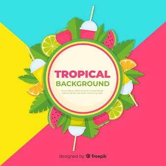 Fundo tropical colorido com frutas