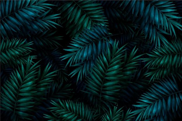 Fundo tropical colorido realista folhas