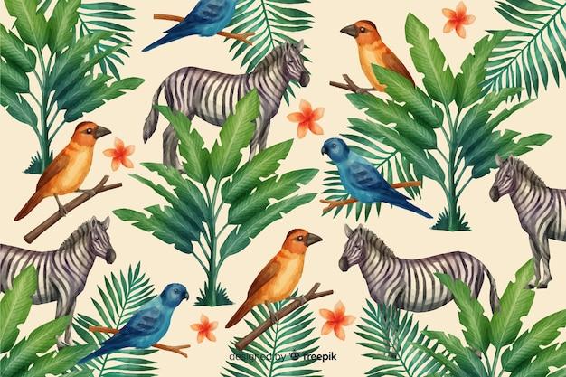 Fundo tropical com animais