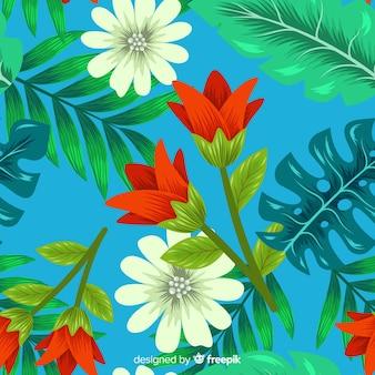 Fundo tropical com flores coloridas