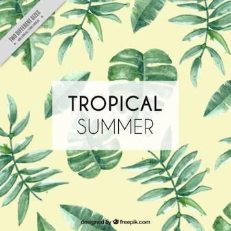 Fundo tropical com folhas de aquarela