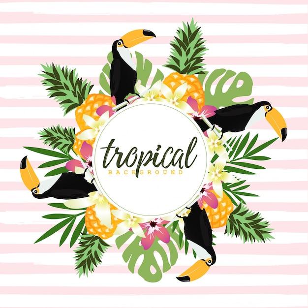 Fundo tropical com folhas de toucan, abacaxi e trópico