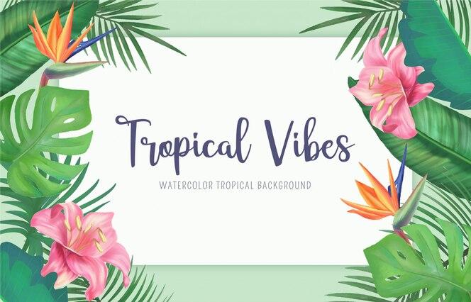 Fundo tropical com folhas e flores em aquarela