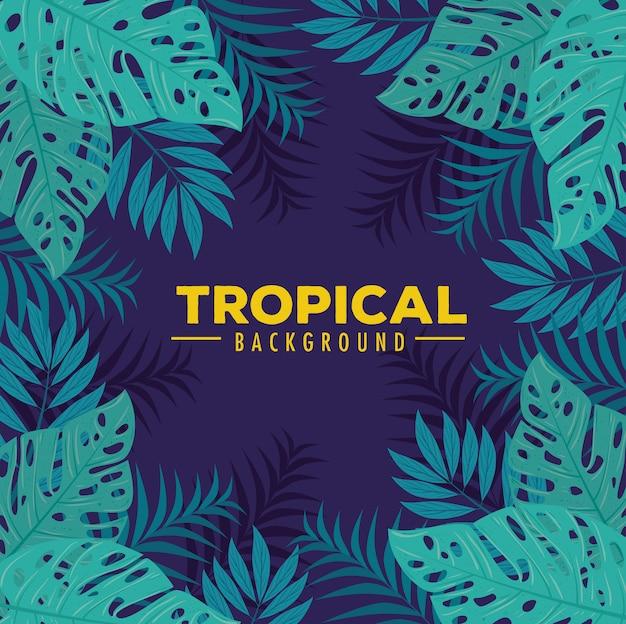 Fundo tropical com moldura de plantas da selva, decoração com folhas tropicais