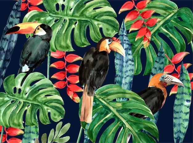 Fundo tropical com pássaro