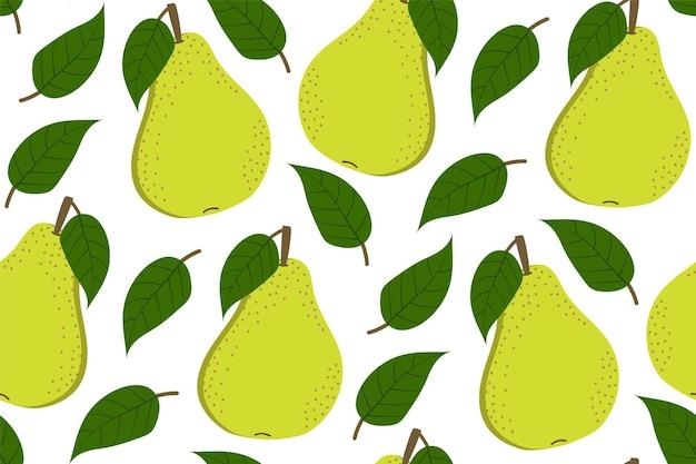 Fundo tropical com peras. fundo repetido de frutas. ilustração em vetor de um padrão sem emenda com frutas. design moderno e exótico abstrato.