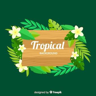 Fundo tropical com placa de madeira