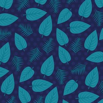 Fundo tropical com plantas da selva, decoração com folhas tropicais