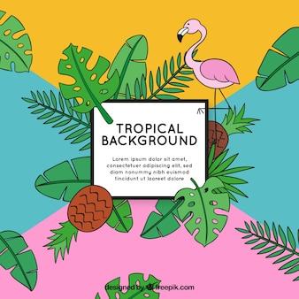 Fundo tropical com plantas e flamingo