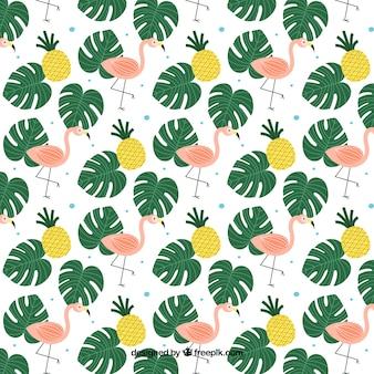 Fundo tropical com plantas e