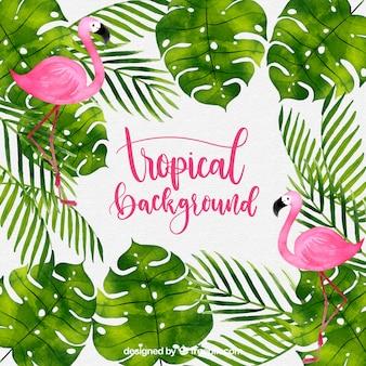 Fundo tropical com plantas em aquarela e flamingos
