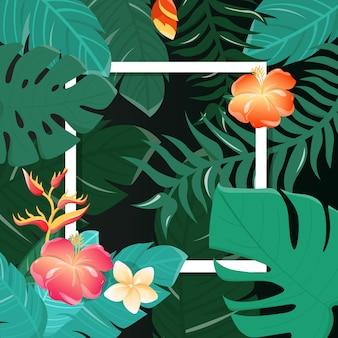 Fundo tropical das flores. design de verão. vetor.