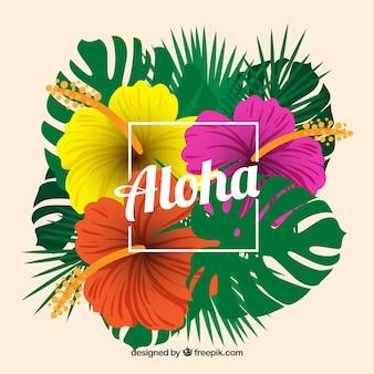 Fundo tropical de aloha com flores coloridas