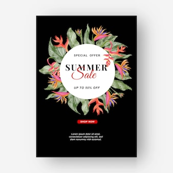 Fundo tropical de banner de verão com flores de strelitzia e folhas tropicais