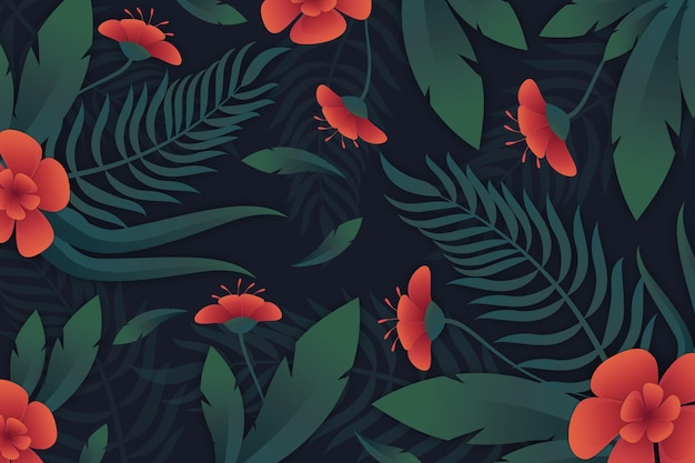 Fundo tropical de flores e folhas