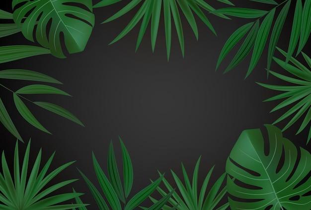 Fundo tropical de folha de palmeira verde realista natural e dourado.