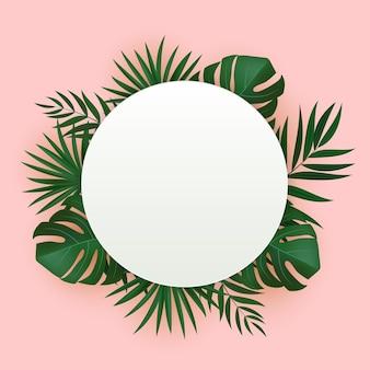 Fundo tropical de folha de palmeira verde realista natural.