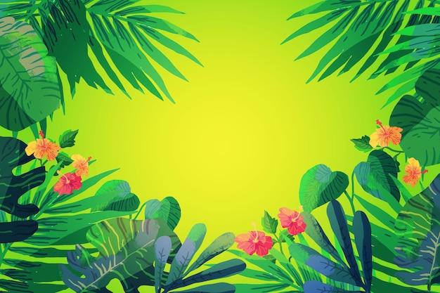 Fundo tropical de folhas e flores