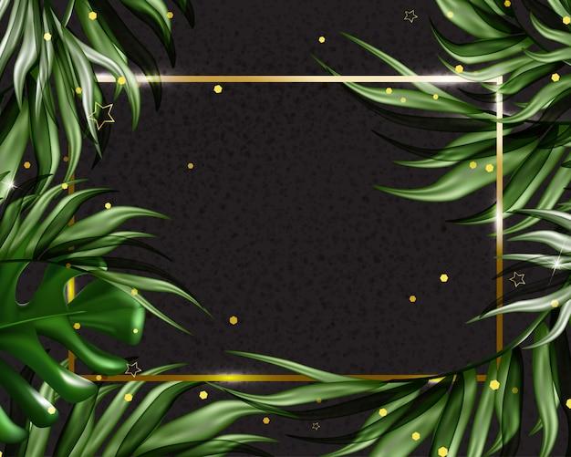 Fundo tropical de verão com folhas exóticas. modelo de promoções, vendas, convites de casamento, eventos, férias. .