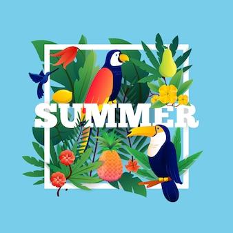 Fundo tropical de verão com ilustração de frutas e pássaros de plantas