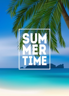 Fundo tropical de verão com palmeiras, mar e praia. cartão de convite cartaz verão cartaz panfleto. horário de verão.