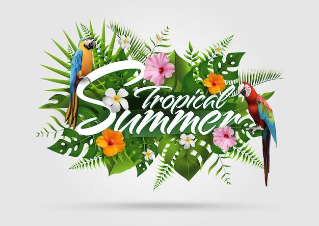 Fundo tropical de verão na moda