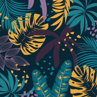 Fundo tropical elegante com plantas e folhas roxas e amarelas brilhantes