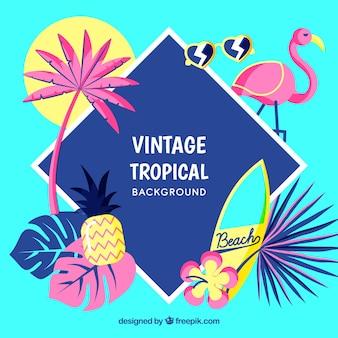 Fundo tropical em estilo vintage