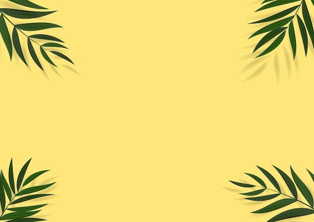 Fundo tropical em folha de palmeira verde realista abstrato.