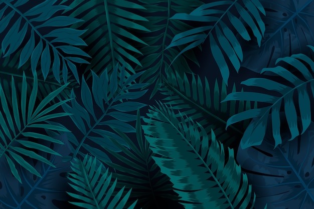 Fundo tropical escuro de folhas naturais