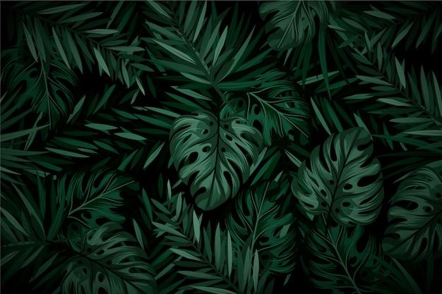 Fundo tropical escuro realista de folhas