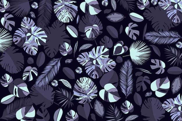 Fundo tropical escuro realista folhas