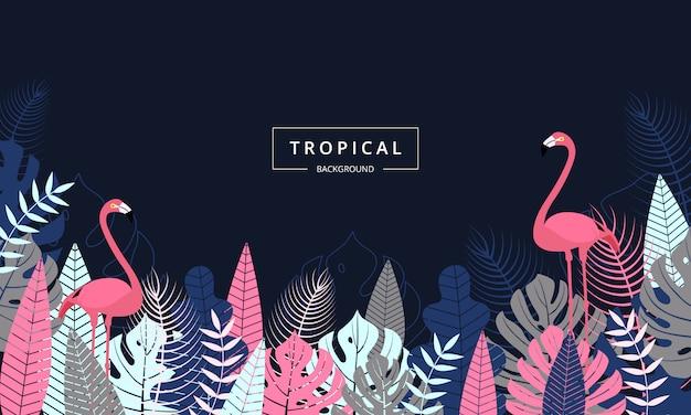 Fundo tropical exótico, decorado com folhas de palmeira e pássaro flamingo