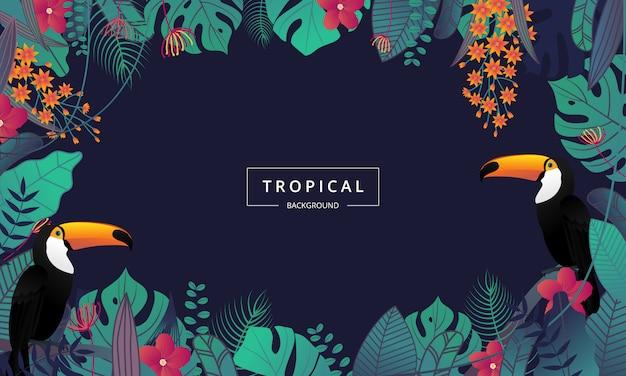 Fundo tropical exótico, decorado com folhas de palmeira e pássaro tucano