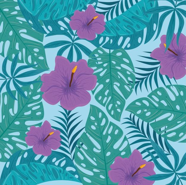 Fundo tropical, flores cor roxa e plantas tropicais, decoração com flores e folhas tropicais