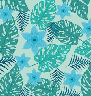 Fundo tropical, flores de cor azul e plantas tropicais, decoração com flores e folhas tropicais