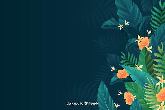 Fundo tropical natural com folhas