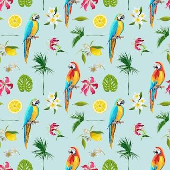 Fundo tropical. pássaro tucano. fundo do cacto. flores tropicais. padrão sem emenda. vetor