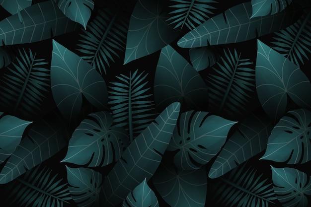 Fundo tropical realista de folhas
