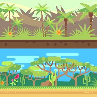 Fundo tropical sem emenda horizontal da floresta da floresta no estilo liso dos desenhos animados. natureza ao ar livre com gre