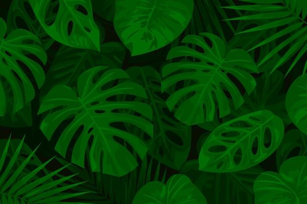 Fundo tropical verde realista folhas