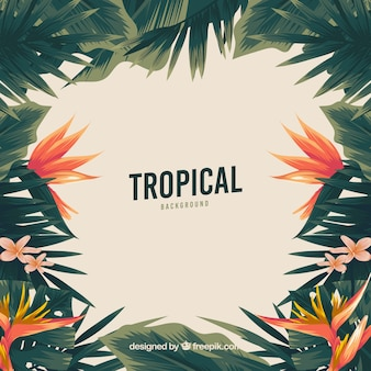 Fundo tropical vintage com design plano