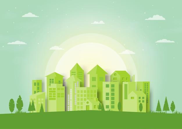 Fundo urbano da arquitectura da cidade da silhueta verde.