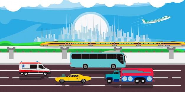Fundo urbano da ilustração do tráfego da arquitetura da cidade. desenhos animados do centro da paisagem da skyline do carro moderno da rua. bandeira de panorama de cena plana. art metropolis highway