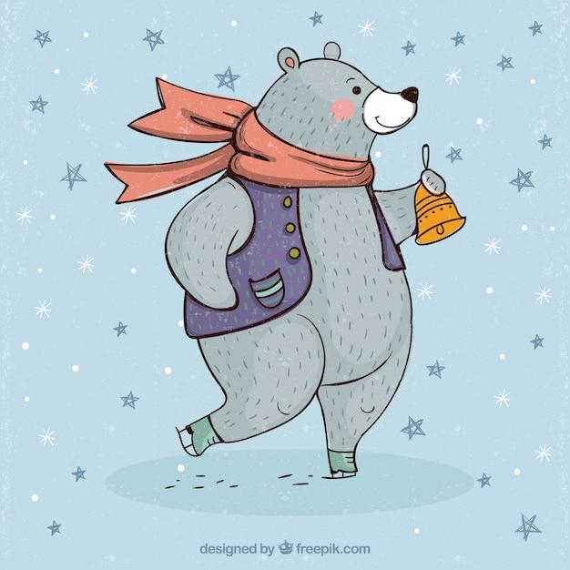 Fundo urso com roupas de inverno
