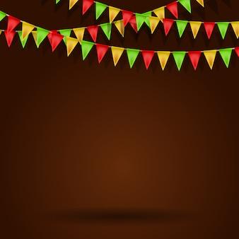 Fundo vazio com bandeiras de carnaval. ilustração